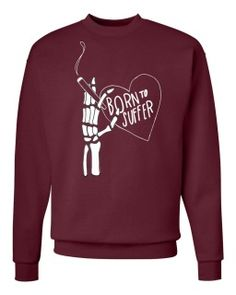 Born To Suffer, Maroon 2016 Screenprinted crewneck   THESE SHIRTS WILL NOT SHIP UNTIL AFTER JANUARY 5, 2017  Please read below: All printed shirts and apparel are made in small batches by a third party. All pre-orders secure your size in the batch. Although sizes are constantly restocked from printer, shipping and printing time varies due to production time. if you have questions please contact me.  Gildan Heavy Blend™ 8 oz., 50/50 Fleece Crew - G180 (18000)   50% cotton, 50% polyester…