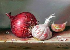 Umetniška dela Raymond Campbell, čebule in česna, narejena iz olja na krovu Still Life Drawing, Still Life Art, Vegetable Painting, Veggie Art, Kitchen Art, Art Sketchbook, Animal Paintings, Art Reference, Watercolor Paintings