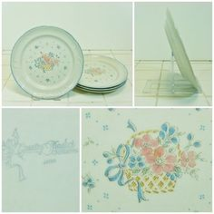 4 x Side Plates Country Basket Collection Japan Asian Tea Cake Salad FREE P&P
