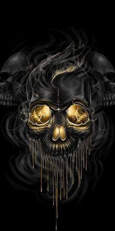 """Check this skull Melt Skull Wallpaper, Love Wallpaper, Gothic Wallpaper, Shadow Theme, Classy And Fab, Art Visionnaire, Neck Bones, Leo Tattoos, Skull Tattoos"