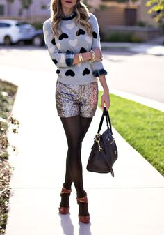 sequin shorts and J Crew Grey heart sweater