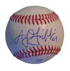 A.J. Griffin Autographed Rawlings ROLB1 Leather Baseball, Proof Photo