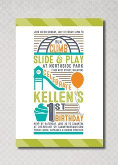 Printable playground birthday invitation party in the park playground birthday party invitation first birthday park birthday party by pinchofspice on etsy https filmwisefo