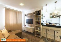 decoracao-apartamento-pequeno (3) Studio Living, Living Room, Semi Open Kitchen, Little Houses, Small Apartments, Entryway, Shelves, Table, Furniture