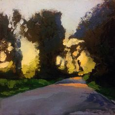 "The Bend, Sunset oil 6 x 6"" © Mary Bentz Gilkerson"