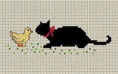 黒猫の図案1   Atelier Daisy