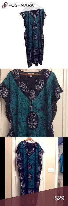 Woman adjustable full length dress NWOT One size with adjustable strap , 55 inches long, 48 inches between arms adjustable to smaller width, gorgeous aqua/teal blue and navy in good quality Indian cotton, 11 inches slits on sides for easy movement, great for casual days or to hang out by the pool 😍 Receive a free boutique choker with this purchase 💕 J Gee Dresses