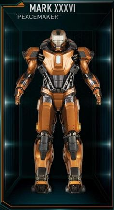 The Peacemaker was the thirty-sixth Iron Man suit created by Tony Stark, and one of the many armors he developed after the battle for New York against Loki and the Chitauri. The attack had left him with the feeling that the world couldn't be safe for long, and that he needed to build more suits until the next time Earth was in danger. The MK XXXVI was among those summoned by Stark to battle Extremis-enhanced soldiers assisting Aldrich Killian's plot. It was controlled at the time by...