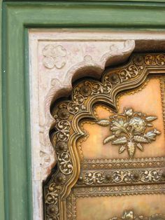 Details of a brass door, City Palace, Jaipur #India, where the Royal Family still reside