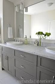 Image result for bathroom with yellow walls and grey vanity