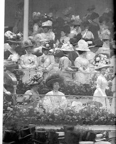 1908 ~ Look at all those big hats....I think that would take a lot of talent and skill to wear one.