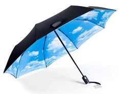 Amazon.com: RITENG 23 Inch Automatic Open and Close Winderproof Compact Travel Foldable Umbrella in Multiple Colors (Yellow+sky): Sports & Outdoors Cool Umbrellas, Yellow Sky, Compact, Outdoors, Travel, Amazon, Black, Colors, Sports