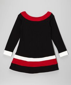 Black & Red Stripe Mod Dress - Girls by fiveloaves twofish on #zulily #ad