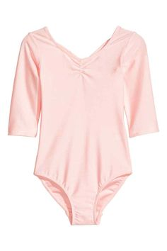 Leotard: Leotard in glossy, fast-drying functional fabric with decorative gathers at the top, crossover straps at the back, 3/4-length sleeves and a lined gusset.