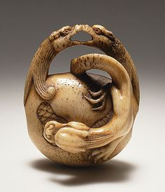 Netsuke ~ Dragons on Gong, mid-19th century Japan ~ Stag antler ~  1-1/2 x 1-1/4 x 1 inch  ~  Asakusa School (Japan)