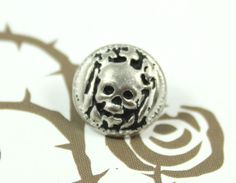 Metal Buttons - Antiqued Silver Skull Princess Pattern Shank Metal Buttons. 0.43 inch, 10 pcs by Lyanwood, $5.00