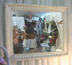 Shabby Chic Cream Mirror Distressed Carved Wood by rosesnmygarden, $135.00
