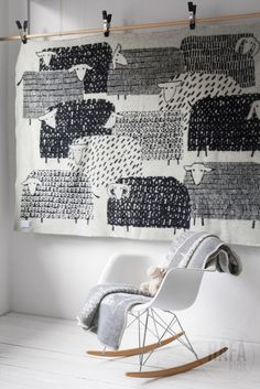 Finnish wool blankets by Masaru Suzuki - Adorable lamb print and Eames Rocker dekorieren Decorating Kids Rooms with Textiles ⋆ Handmade Charlotte Eames Rocker, Kids Bedroom, Kids Rooms, Bedroom Wall, Bedroom Decor, Wool Blanket, Sweet Home, Interior Design, Interior Modern