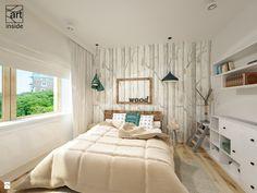 Sypialnia z tapetą WOODS & PEARS - zdjęcie od art inside - studio projektowania wnętrz i ogrodów - Sypialnia - Styl Skandynawski - art inside - studio projektowania wnętrz i ogrodów