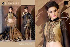#Black #Georgette #Designer #Saree With #Golden #Blouse $75.64 www.fashionumang.com