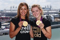 LONDON, ENGLAND - JULY 24: (FREE FOR EDITORIAL USE) Jessica Ennis (L) and Laura Trott of Team GB at the adidas Olympic Media Lounge at Westfield Stratford City on August 5, 2012 in London, England. (Photo by Alex Grimm/Getty Images for adidas)