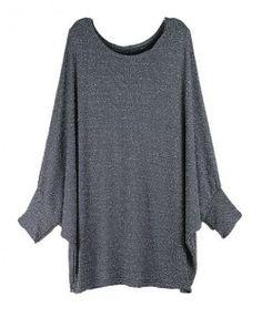 Gray Oversized Glitter Batwing T-shirt