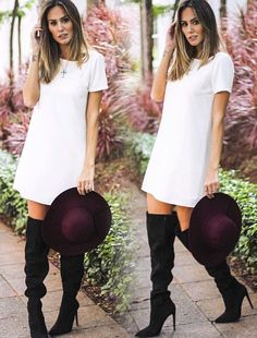 I want | knee high boots | sweater dress | plum hat