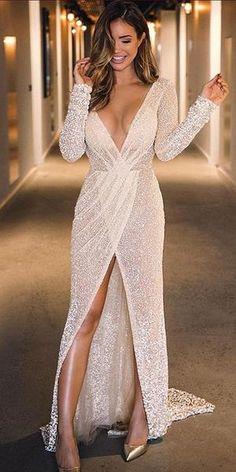 Prom Dresses Elegant, Sparkly Sequin A-Line Deep V-neck Slit.- Prom Dresses Elegant, Sparkly Sequin A-Line Deep V-neck Slit Sexy Long Prom Dresses York Dresses - Dresses Elegant, Sexy Dresses, Beautiful Dresses, Fashion Dresses, Formal Dresses, Long Dresses, Casual Dresses, Sexy Long Dress, Pretty Dresses