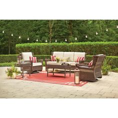 Hampton Bay Park Meadows Brown 5 Piece Wicker Outdoor Seating Set With Beige Cushions