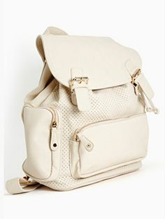 perforated white backpack