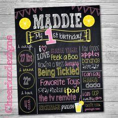 Chalkboard Lemonade - Custom, Chalkboard decor -Digital File- Milestone Birthday Poster by CheeriozDezigns on Etsy