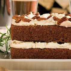 Gingerbread Cake With Stout Buttercream | Not just any beer will work in this cake. Use a stout–the bold flavor of the beer complements the spices in the gingerbread cake mix. | SouthernLiving.com christmas cakes, food, cake mixes, gingerbread cake, cake recipes