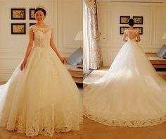 Luxury Lace Sweetheart Wedding Dresses 2016 Sequin Sleeveless Open Back Long Wedding Gowns Court Train Ball Gown Vestido De Noiva Lace Wedding Dresses Backless Wedding Dresses 2016 Wedding Dresses Online with 219/Piece on Angelia0223's Store | DHgate.com