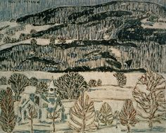 David Milne Canadian Blue Church, c. 1920 Oil on canvas adhered to hardboard 46 x cm Gift of the Founders, Robert and Signe McMichael Lent by: McMichael Canadian Art Collection, Kleinburg Canadian Painters, Canadian Artists, Landscape Art, Landscape Paintings, Landscapes, David Milne, Painting Snow, Watercolor Techniques, Artist At Work