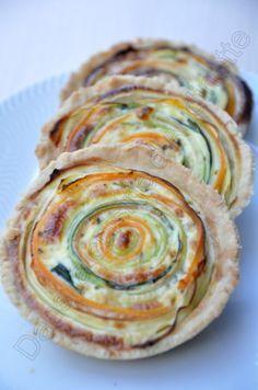 Spiral Veggie Tartlets by audinette #Tart #Veggie