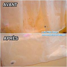 Saviez-vous qu'un rideau de douche se lave en machine ? Je n'en avais aucune idée sinon je l'aurais fait depuis longtemps car le résultat est bluffant ! Regardez la différence avec cette photo avant et après :-)  Découvrez l'astuce ici : http://www.comment-economiser.fr/comment-nettoyer-rideau-de-douche-en-plastique-sans-effort.html?utm_content=buffera5e52&utm_medium=social&utm_source=pinterest.com&utm_campaign=buffer