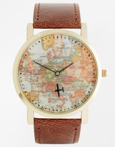 Image 1 ofASOS Watch With Vintage Map Print