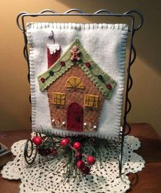 Gingerbread HouseThis little wool hanging is so adorable Kit comes with all the buttons and embellishments Patterns are also available Christmas Applique, Felt Christmas Ornaments, Christmas Sewing, Handmade Christmas, Christmas Crafts, Cowboy Christmas, Christmas Trees, Christmas Buttons, Country Christmas