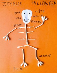 sweet petite comptine, teaching French through rhyme one comptine at a time, teacher resources, learn French, French Body Parts, Skeleton Craft, All About Me Crafts, French Crafts, French For Beginners, Core French, Halloween Crafts For Kids, Learn A New Language, French Lessons