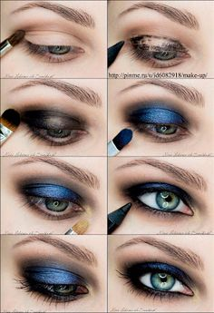 15 Step-By-Step Smoky Eye Makeup Tutorials for Beginners make up Blue Smokey Eye, Dramatic Smokey Eye, Black Smokey, Eye Makeup Steps, Simple Eye Makeup, Blue Eye Makeup, Natural Makeup, Mac Makeup, Makeup Brushes