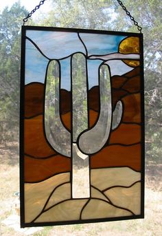 Stained Glass Panel Ghost Cactus FREE SHIPPING by HillCountryGlass, $185.00