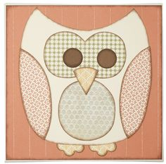 """Create this paper-pieced owl—isn't he a cutie?—then attach it to a 12"""" x 12"""" canvas (available at your local craft store). Here are some tips:    Cut the pieces freehand or print some clip art from the Internet for a pattern. We used the flower stamp from My Acrylix® Fill in the Blank (D1465) as a template for the feet, and used the   1 1/4"""" circle punch (Z1311) to punch the eyes from Cocoa cardstock.  We wanted to add Juniper to the artwork, so we added the Typeset Juniper damask B Duos®…"""