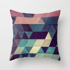Ties together the navy, purple, blush, grey, turquoise, black colours | cryyp Throw Pillow by Spires - $20.00