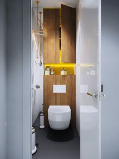 Bathroom decor, Galley Bathroom Mirrors That Extend From Above, The Storage Above The Seat, And Countertop Space For Essentials Simple Unique Bathroom Fixtures: New Modern and Unique Bathroom Designs Bathroom Wall Decor, Bathroom Interior Design, Bathroom Storage, Modern Bathroom, Small Bathroom, Bathroom Designs, Mirror Bathroom, Master Bathroom, Bathroom Ideas