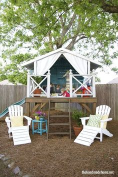 House of Turquoise: The Handmade Home Cubby Houses, Play Houses, Outdoor Play, Outdoor Living, Build A Playhouse, Playhouse Outdoor, House Of Turquoise, Cottage In The Woods, Backyard Playground