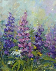 lupins by the shore paintings - Google Search