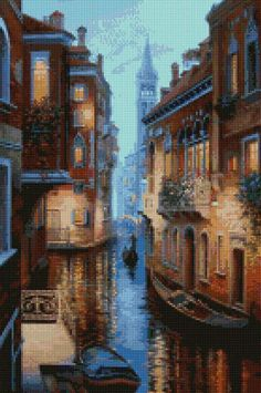 A beautiful picture of Venice, Italy at twilight cross stitch pattern. This chart uses 50 DMC colors and the finished size is 140 x 210 stitches, which is approximately - • 8.75 x 13.1 - 16 count Aida (222mm x 333mm) • 10 x 15 - 14 count Aida (254mm x 381mm) • 7.7 x 11.7 - 18 count