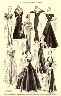 """A Smart Invitation to Dine,"" dinner dresses from Weldons Catalogue of Fashions, autumn/winter 1939-40."