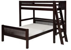 Camaflexi Twin over Full Loft Bed - L Shape - Mission Headboard - Lateral Ladder - Cappuccino Finish - C1912L_CP