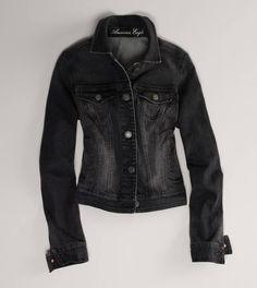 AE Faded Black Denim Jacket